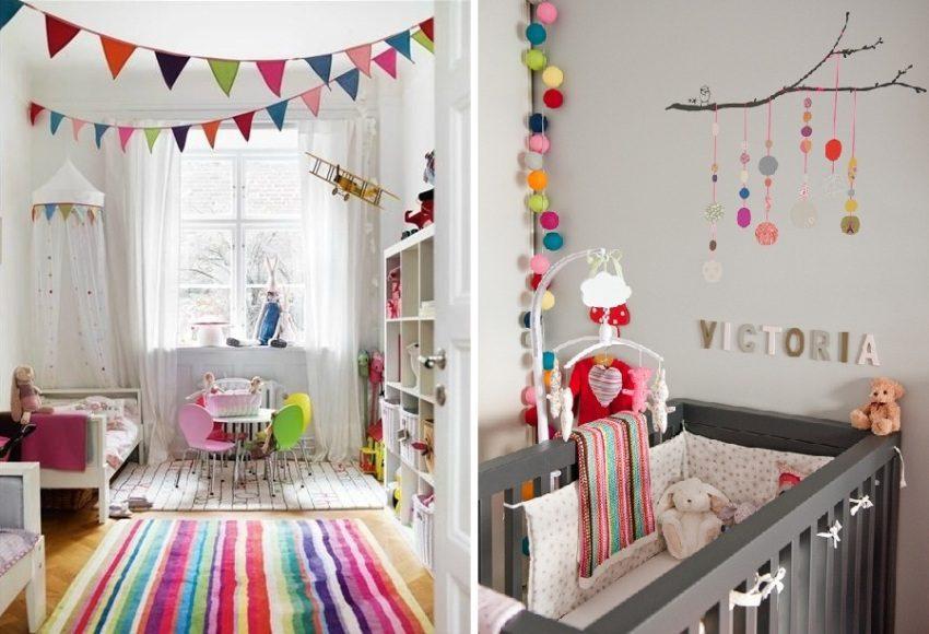 Примеры украшения комнат с помощью цветных гирлянд и флажков