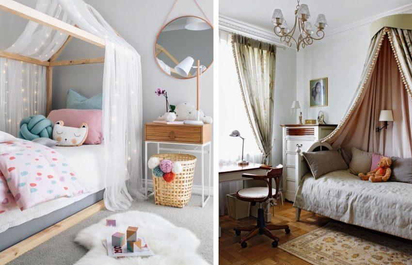 Примеры кроватей с балдахином в детской комнате
