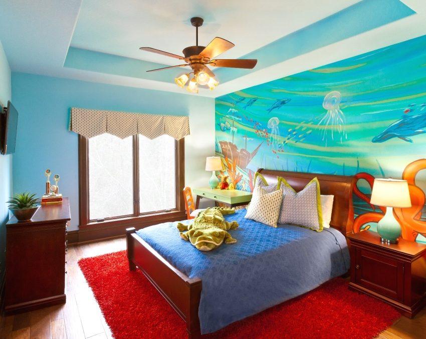 Двухуровневый потолок из гипсокартона в комнате девочки