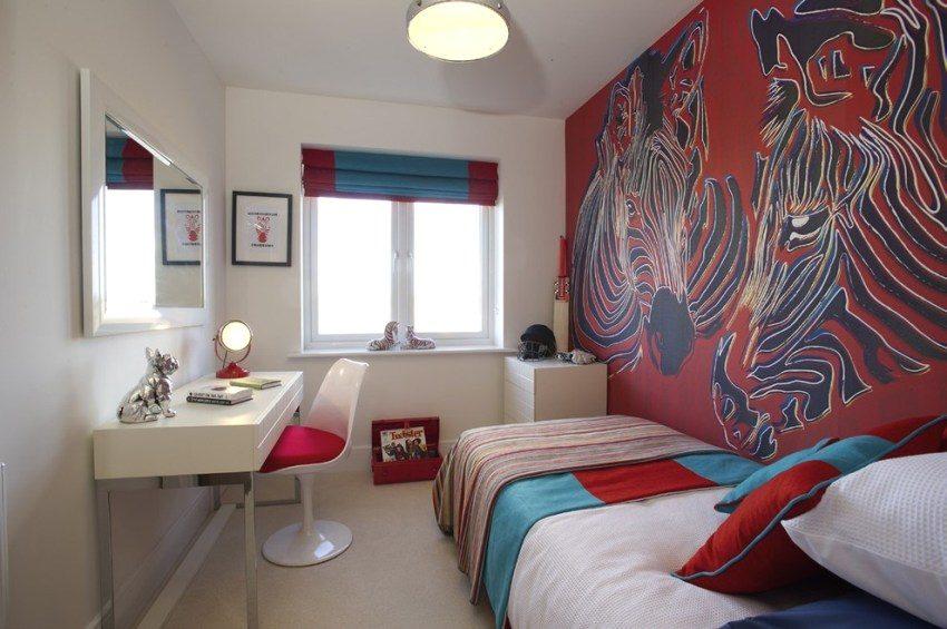 3D фотообои на стене в комнате девочки-подростка