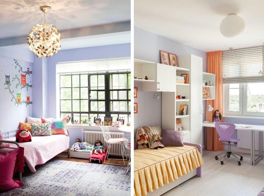 Примеры отделки комнат для девочек в нежных сиреневых тонах