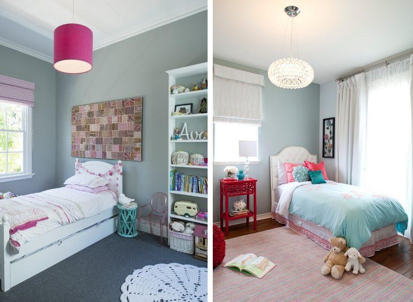 Серо-голубые оттенки в оформлении комнат для девочек
