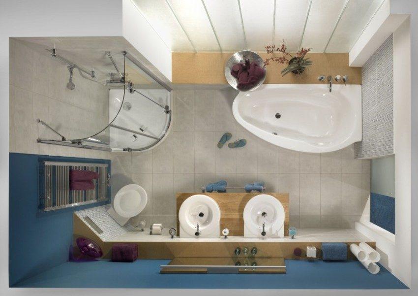 3D визуализация ванной комнаты с установленной угловой кабиной