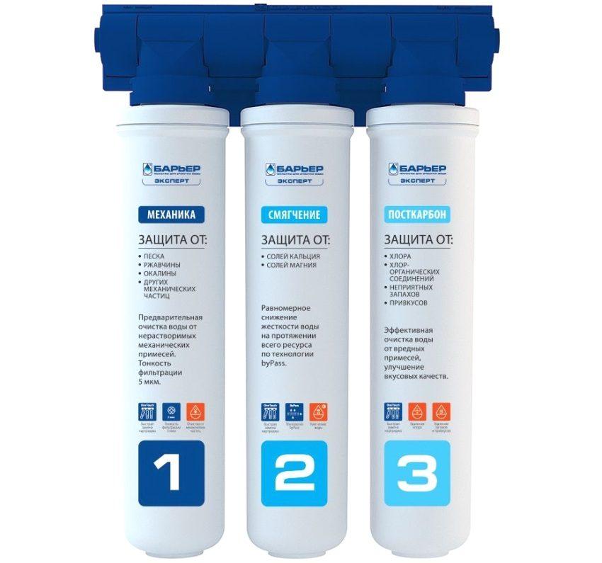 Три ступени очистки воды фильтра Барьер Expert Hard: механика, смягчение, посткарбон