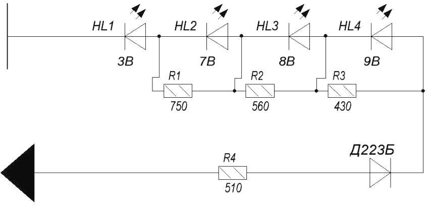 Схема сборки индикатора напряжения на светодиодах своими руками