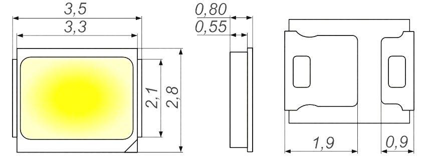 Размеры светодиода SMD 2835