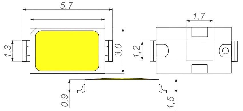 Размеры светодиода SMD 5730