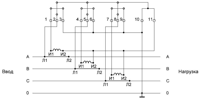 Схема подключения трехфазного электросчетчика