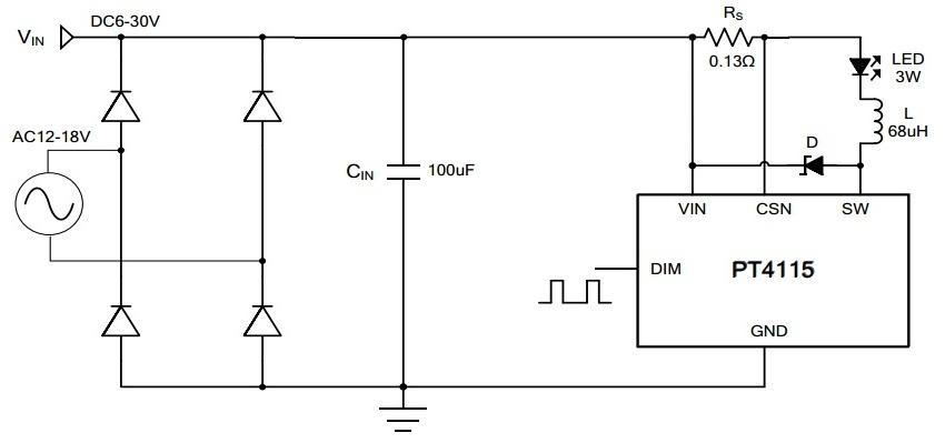 Схема драйвера для светодиодов с использованием PT4115