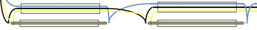 Схема подключения ТЭНов: синий - ноль, черный - фаза, желтый - земля