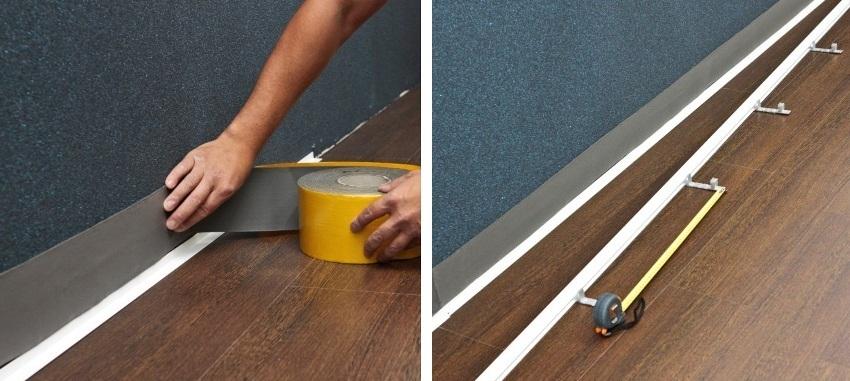 Шаги 3 и 4: монтаж теплоизолирующей ленты и крепление верхней планки к стене