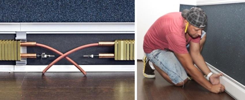 Шаги 8 и 9: прокладка и подключение кабелей, монтаж внешней накладки