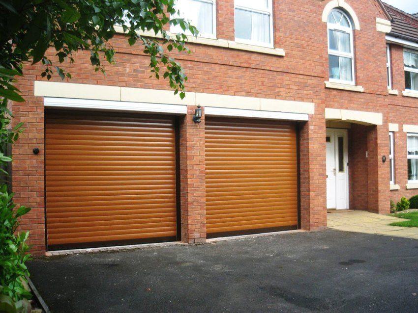 Защитные роллеты в гараже с двумя въездами