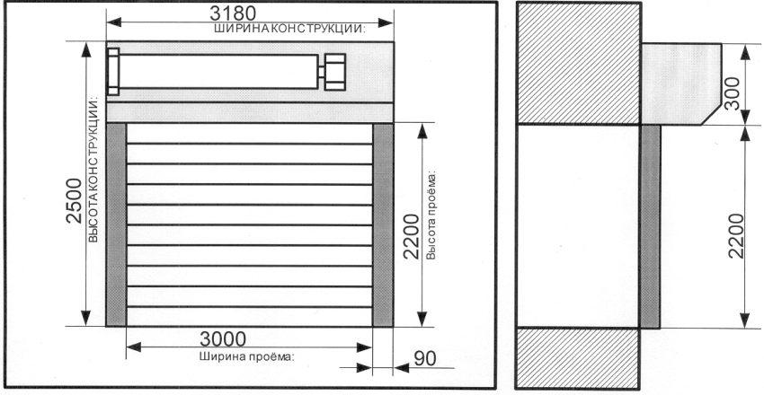 Чертеж роллетных ворот с указанием размеров