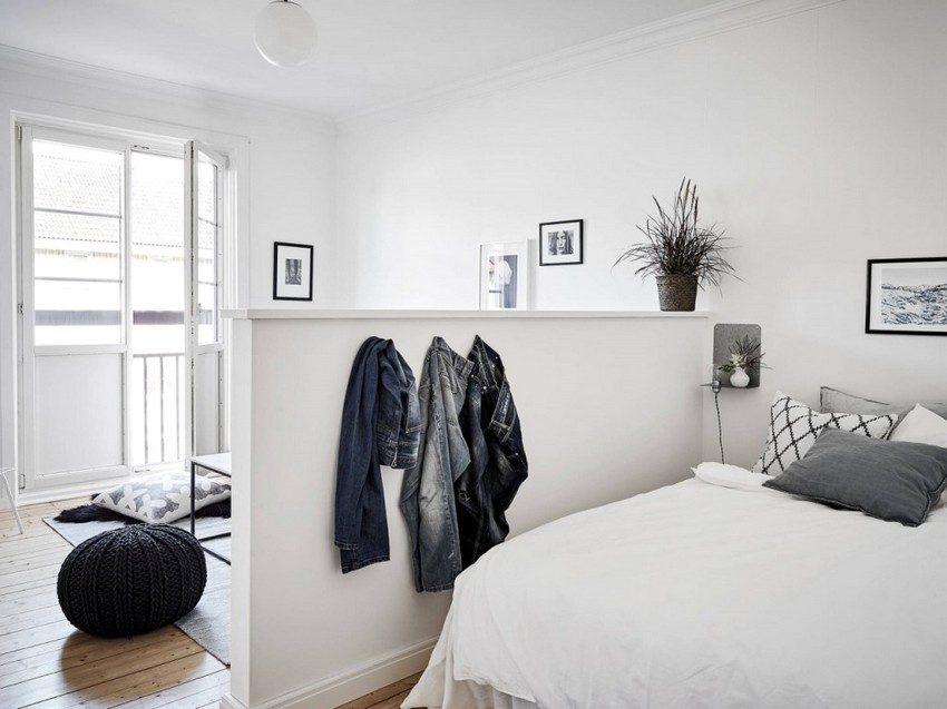 Пример зонирования маленькой комнаты с помощью перегородки из гипсокартона