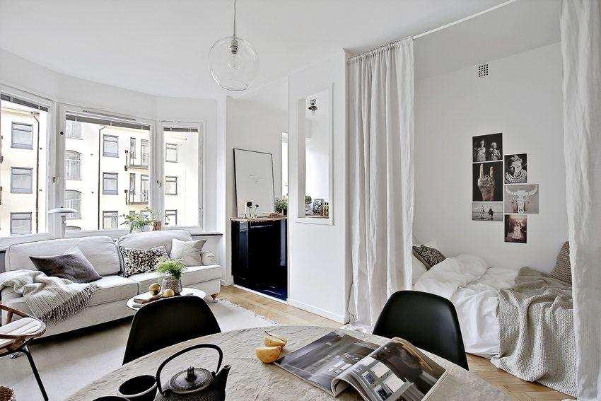 Перегородки в виде занавесей - популярный элемент интерьера, оформленного в скандинавском стиле
