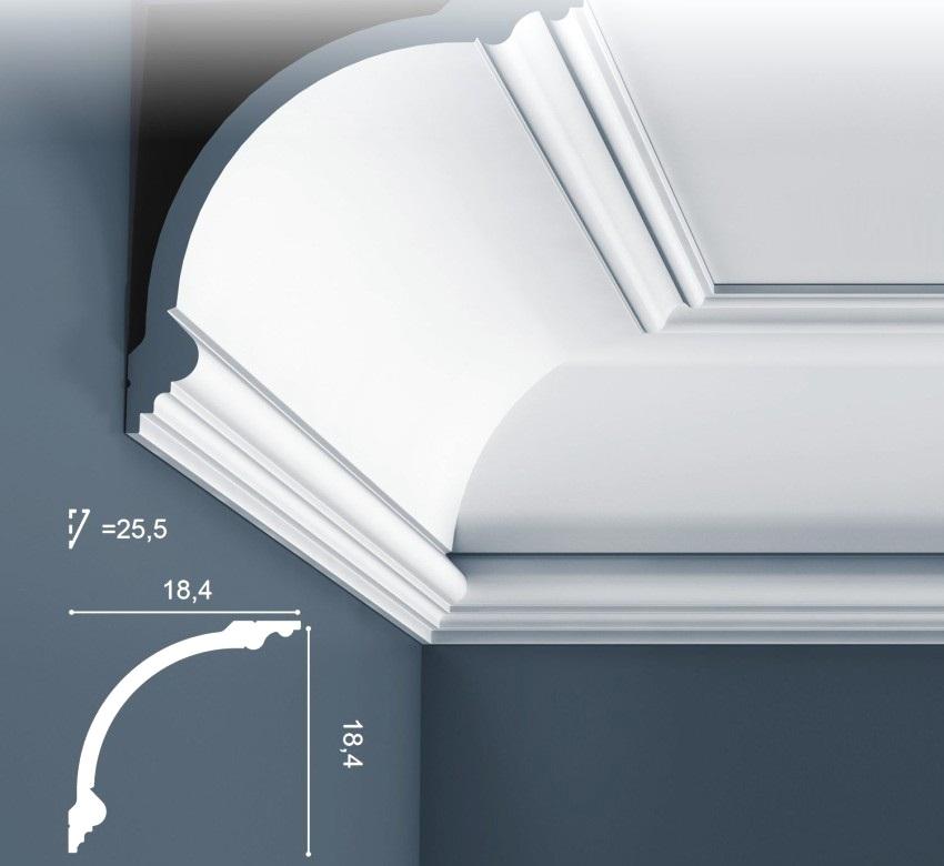 Монтажные размеры углового потолочного плинтуса
