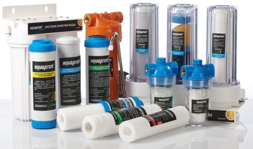 Ассортимент фильтров для воды компании Aquaprom