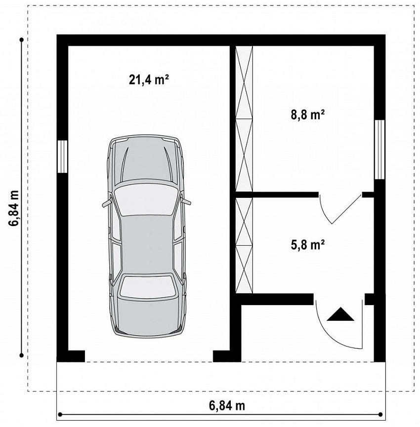 Проект гаража из СИП-панелей с подсобным помещением