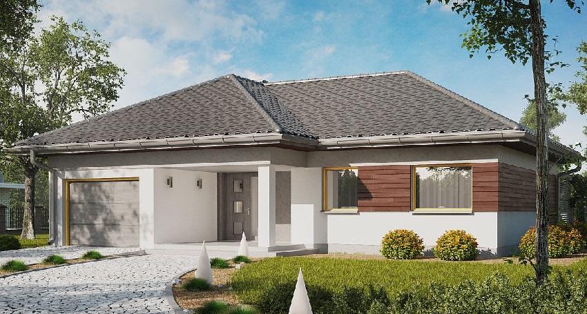3D проект одноэтажного дома из СИП-панелей