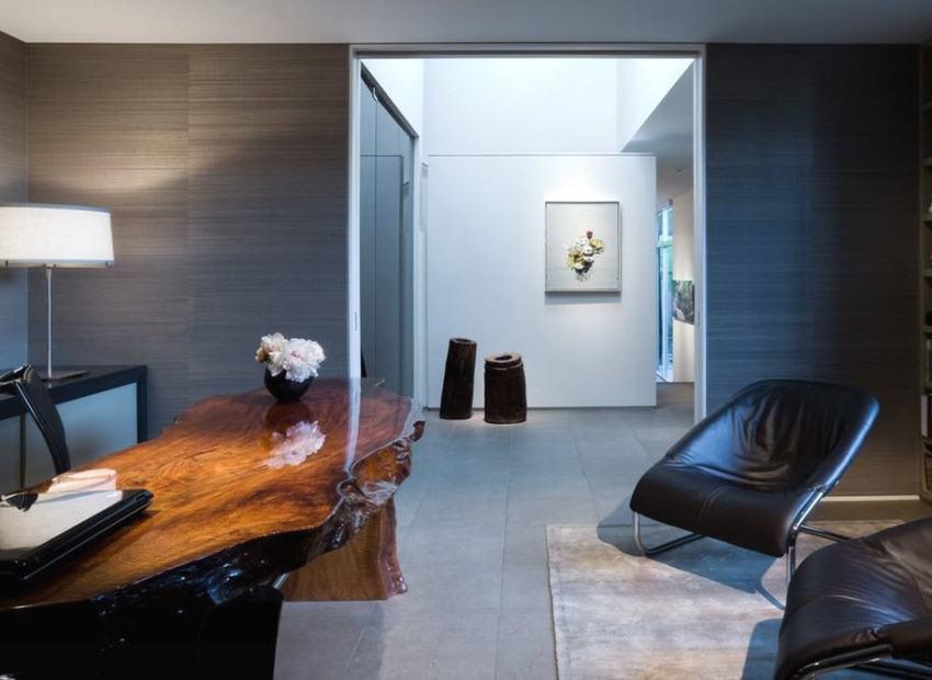МДФ-плиты графитового цвета в интерьере домашнего офиса