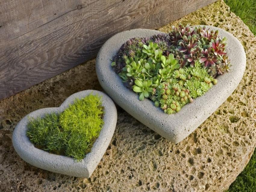 Цветники из цементного раствора в виде сердец