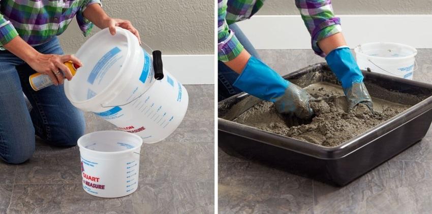 Шаги 1 и 2: подготовка двух пластиковых емкостей и замешивание цементного раствора