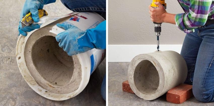 Шаги 5 и 6: удаление пластиковых емкостей и монтаж дренажных отверстий