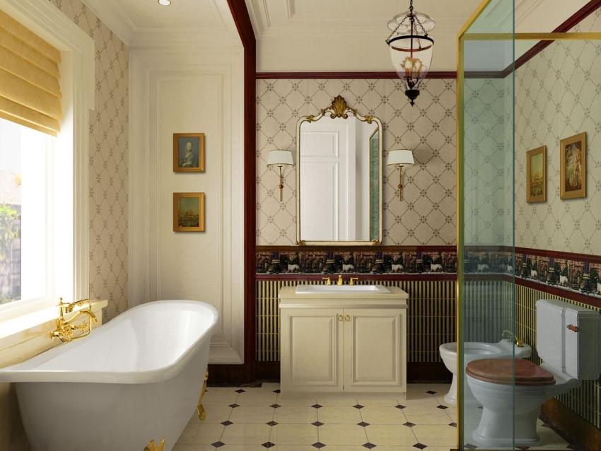Бордюр в ванной комнате следует закреплять водостойким клеем