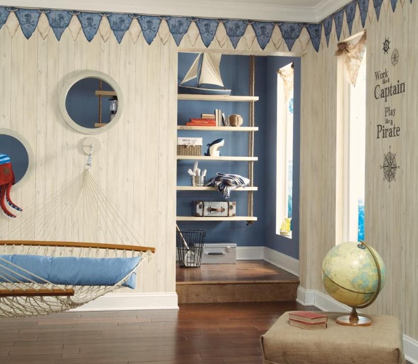 Тематическая детская комната с ярким бордюром