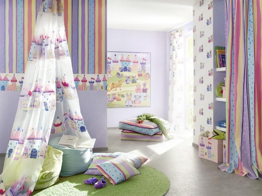 Оформление детской комнаты в мягких тонах