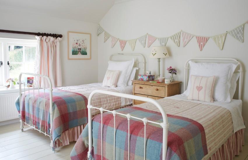 Красивое текстильное оформление комнаты в эко-стиле