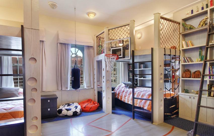 Оригинальный интерьер детской комнаты для двух мальчиков