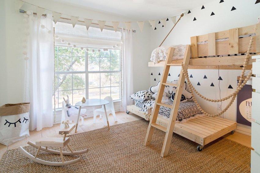Милый дизайн детской комнаты в эко-стиле