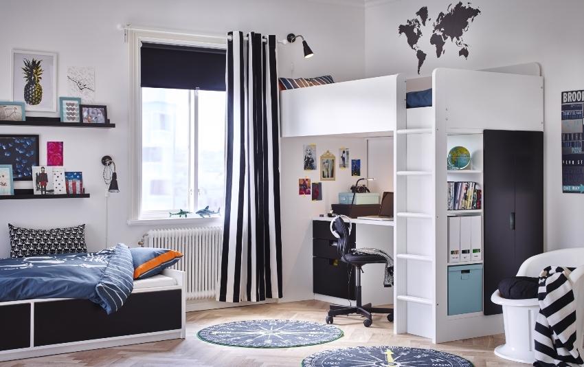 Oblikovanje otroške sobe za dve otroški fotografiji