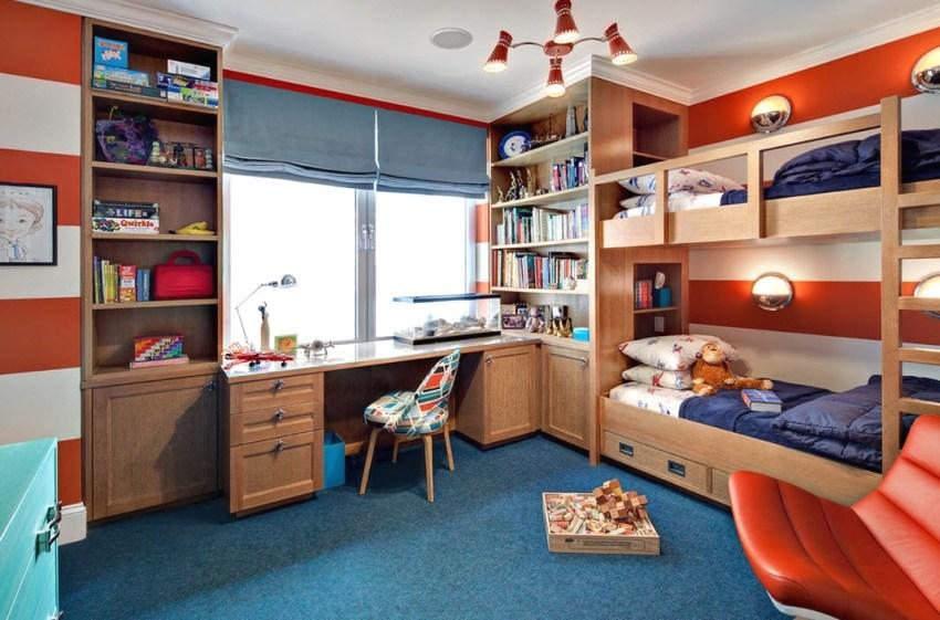 Интерьер комнаты для двух братьев школьного возраста