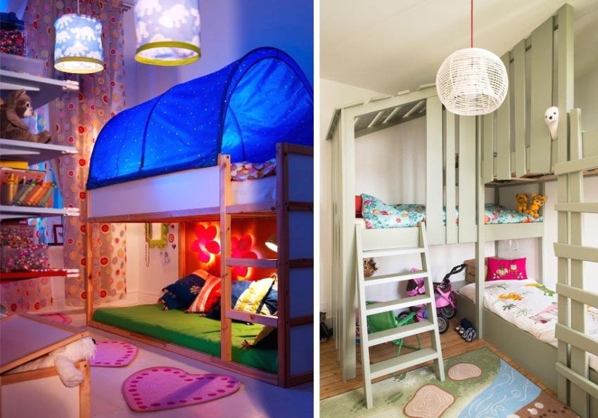 Примеры зонирования спальных мест с помощью игровых декораций