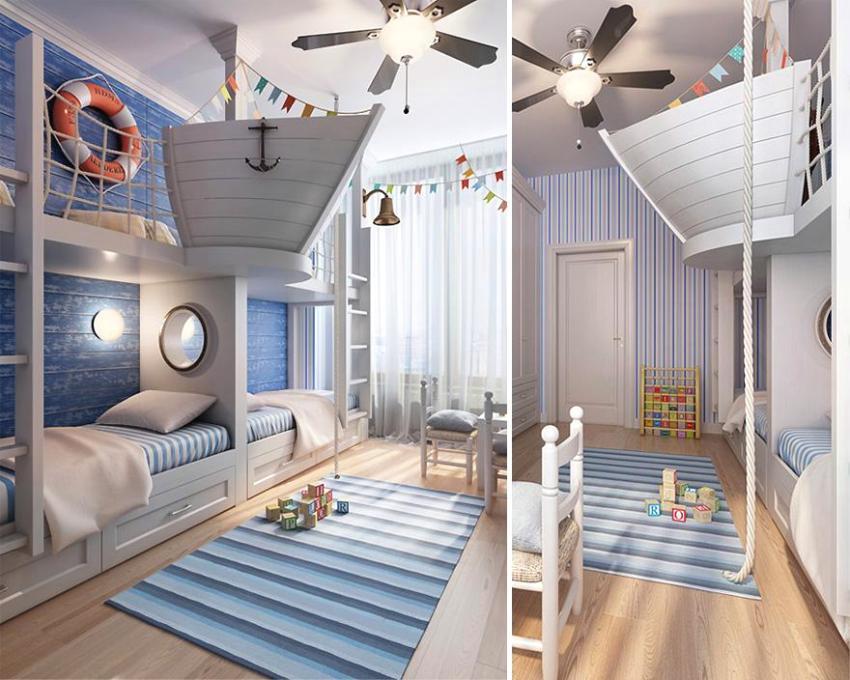Детская комната с игровыми элементами в виде пиратского корабля