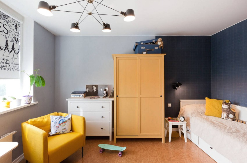 Зонирование игровой и спальной зоны с использованием разных цветов