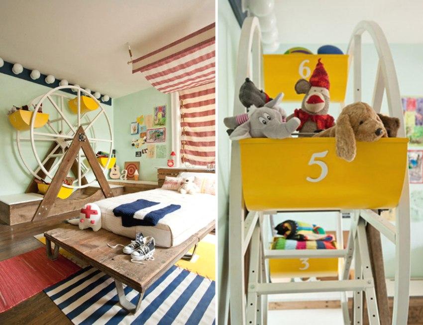 Креативный интерьер детской комнаты с игрушечной мельницей