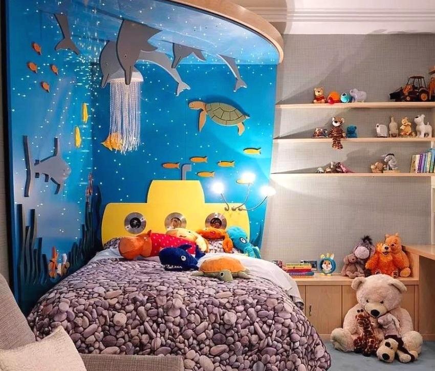 3D-панорама подводного мира в комнате мальчика