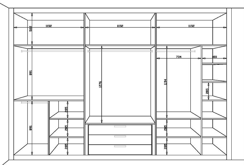 Схема системы хранения вдоль стены