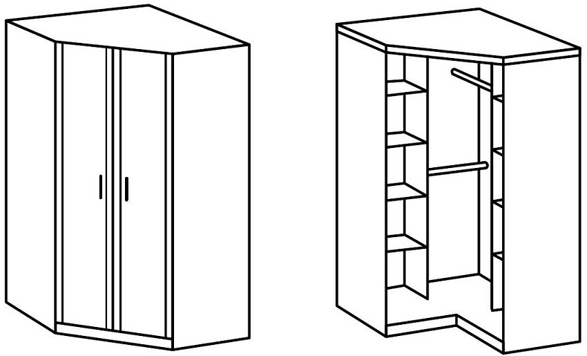 Схема вместительного углового шкафа гардеробной