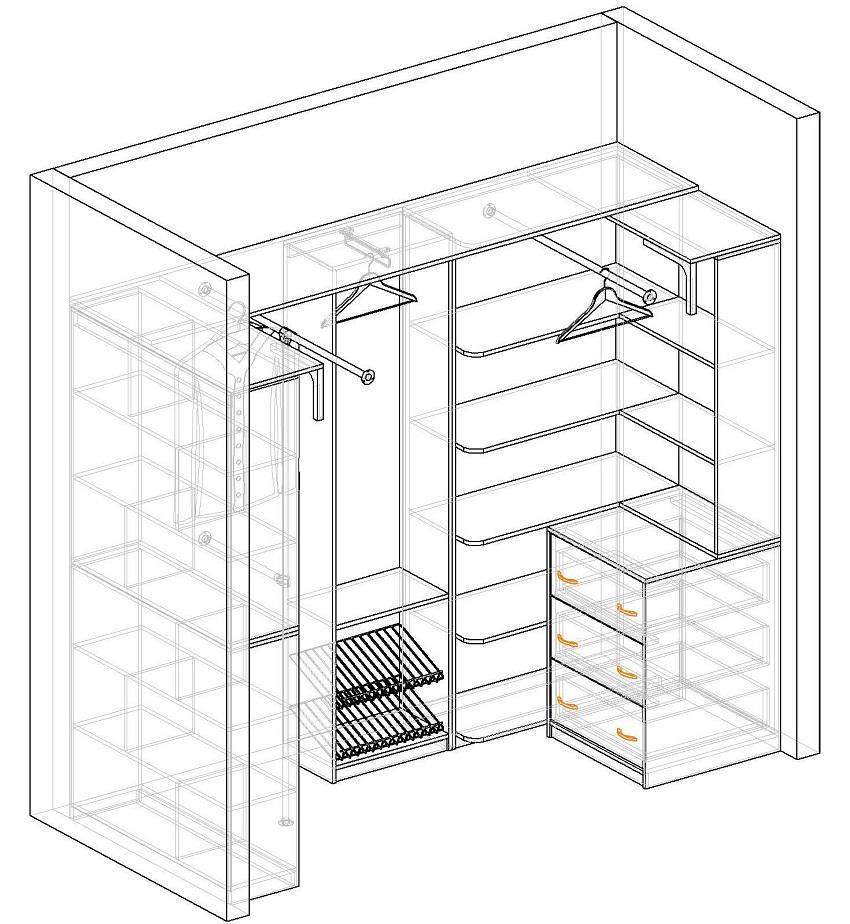 Схема гардеробной из кладовки 1.1 на 1.5 м