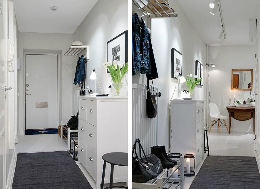 Для визуального расширения пространства в узкой прихожей, лучше использовать светлые тона покрытия и мебели