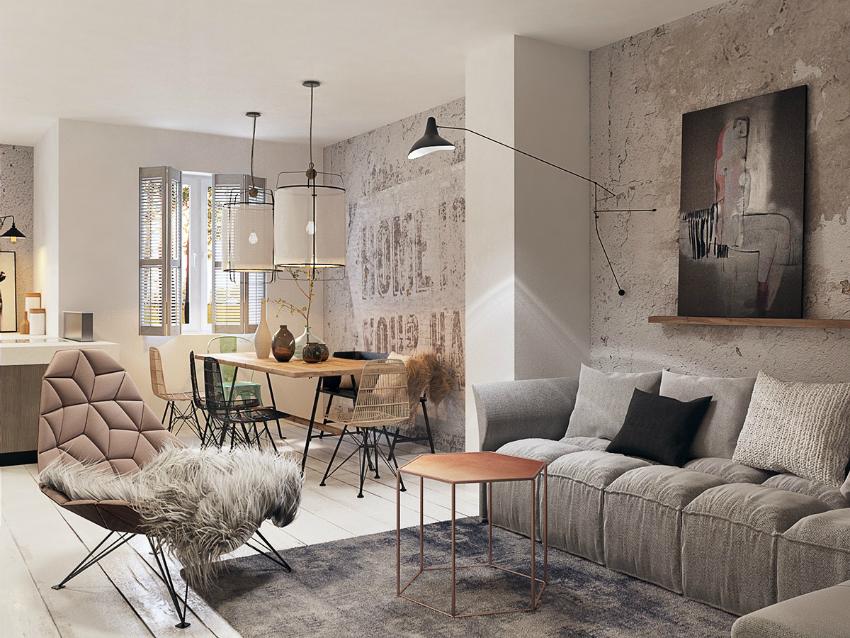 Комфортная, интересная мебель а также фактурные обои для зала помогут создать неповторимый интерьер