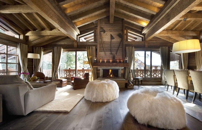 Стиль шале в интерьере дома из бруса