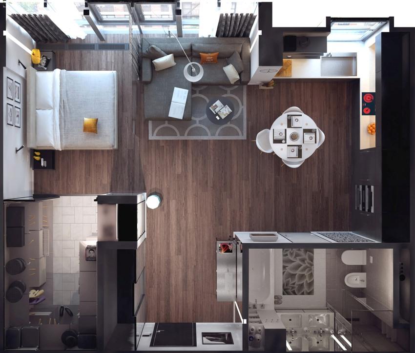 3D-план квартиры-студии с рациональной организацией пространства