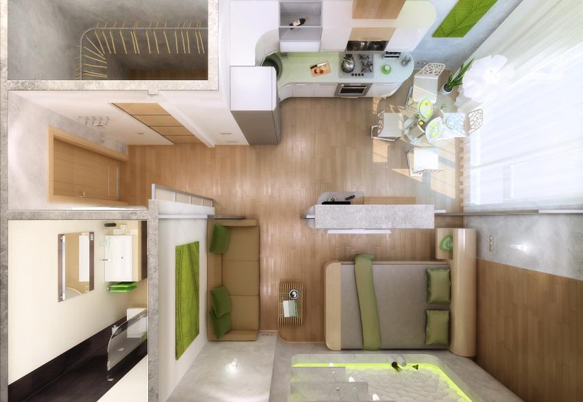 3D-проект квартиры с небольшой гардеробной
