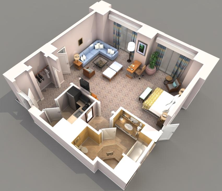 Функциональное зонирование квартиры-студии